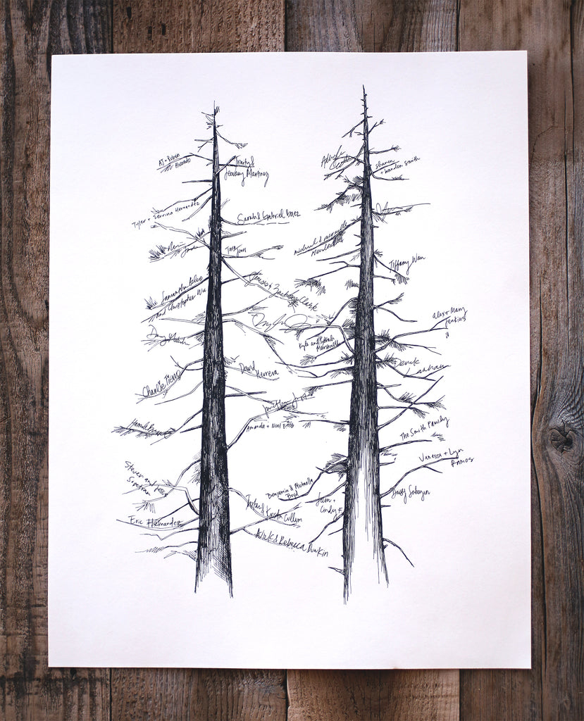 Double Pine, Guest Book Signature Tree, includes pen - No text