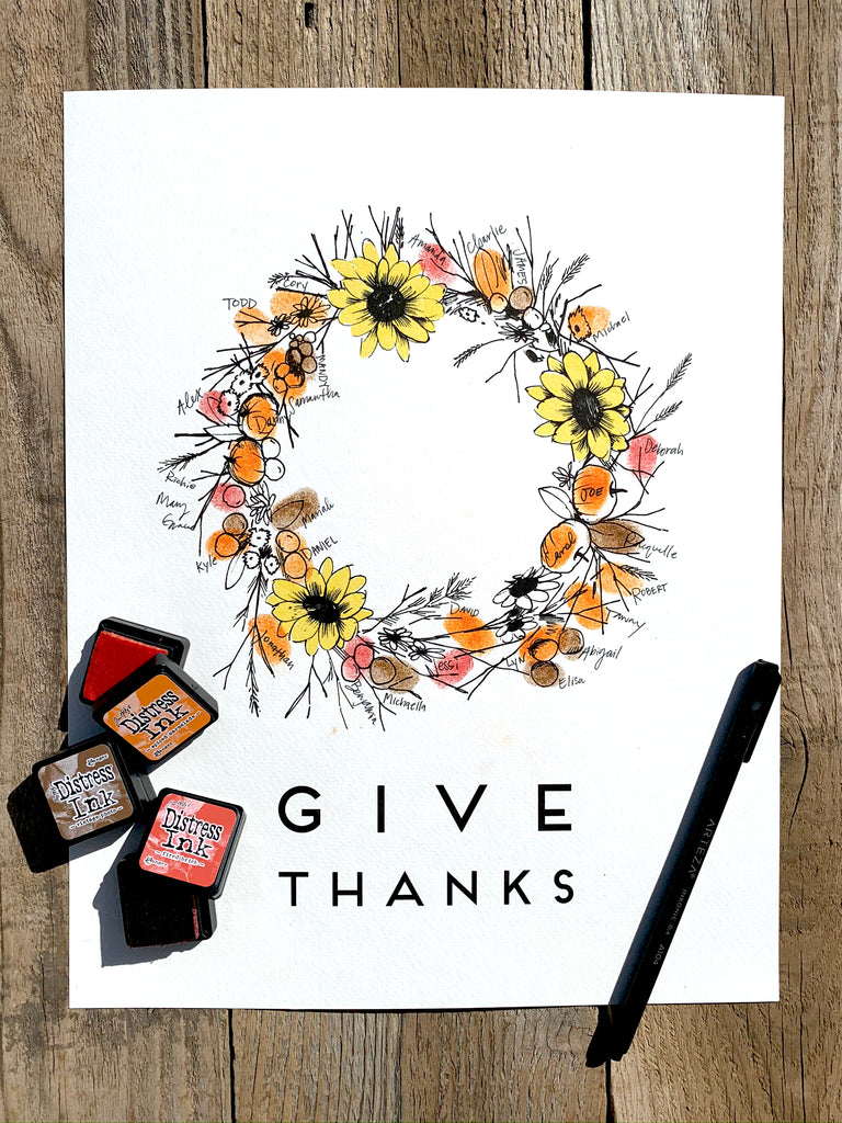Seasonal Fall Fingerprint Wreath, Alternative Guest Book, Kit with 2 ink pads and a pen