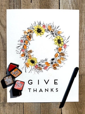 Fall Fingerprint Wreath, Alternative Guest Book, Kit with 2 ink pads and a pen