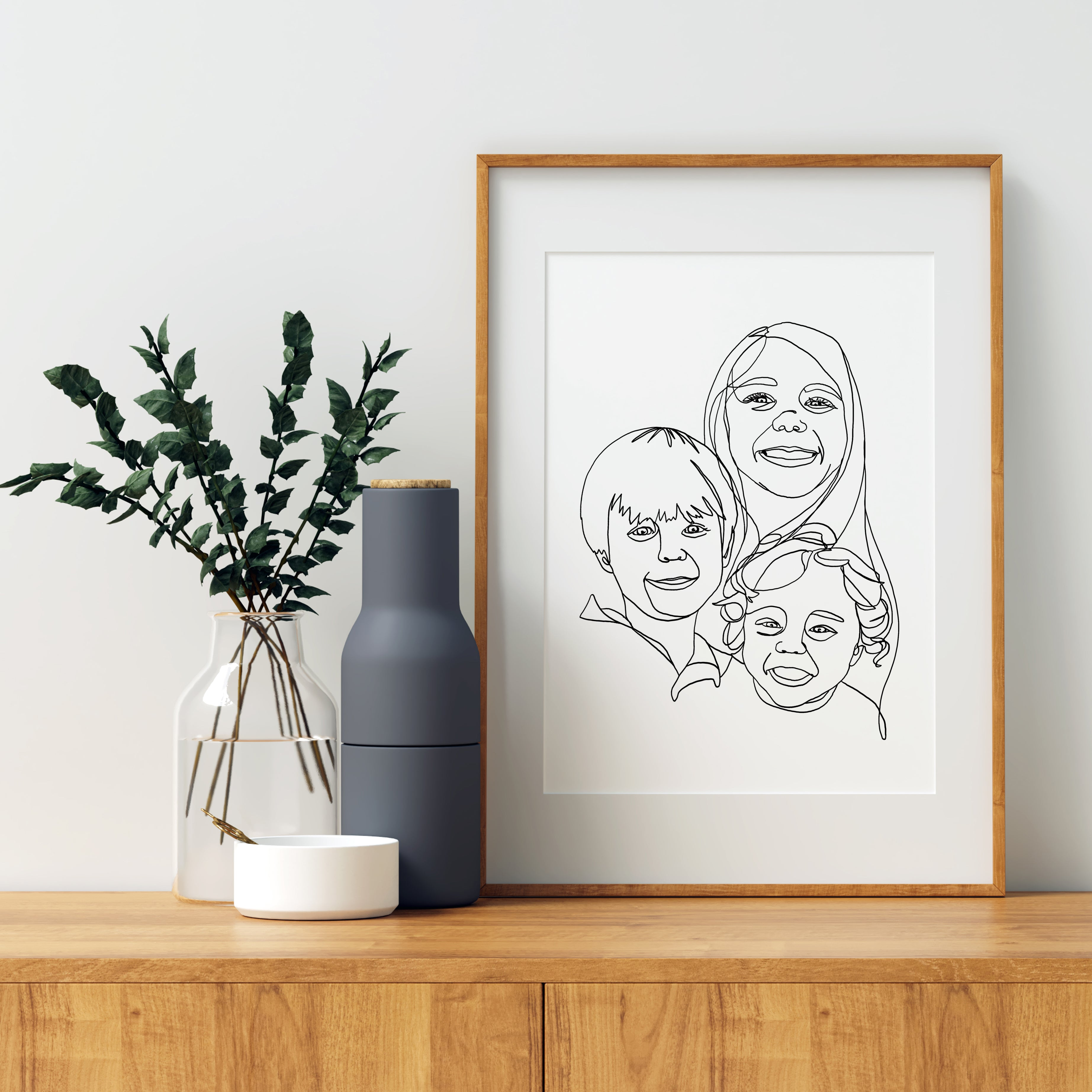 Group Cluster, Custom Continuous Modern Line Family Portrait Digital Package