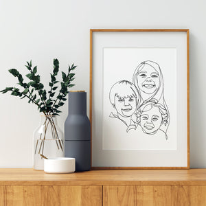 Group Cluster, Custom Continuous Modern Line Family Portrait Digital + Print Package
