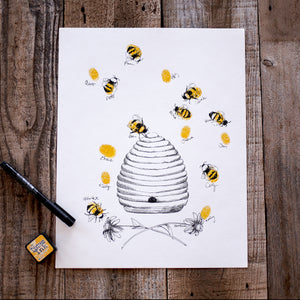 Honey Bee Hive Thumbprint, Alternative Guest Book, Kit with 1 ink pads and a pen