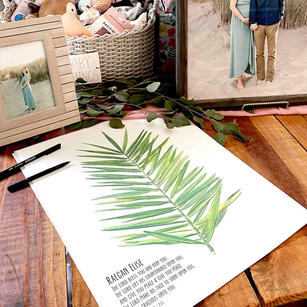 Signature Palm Leaf, Alternative Shower Guest Book, kit with 1  pen for signing