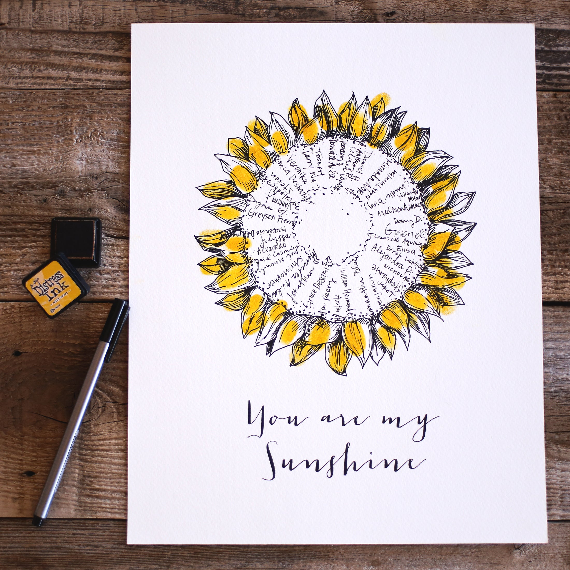 Seasonal Sunflower Fingerprint Flower, Alternative Guest Book, Kit with 1 ink pads and a pen, Readymade Print