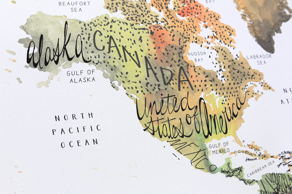 Watercolor World Map - Warm Earth Tones