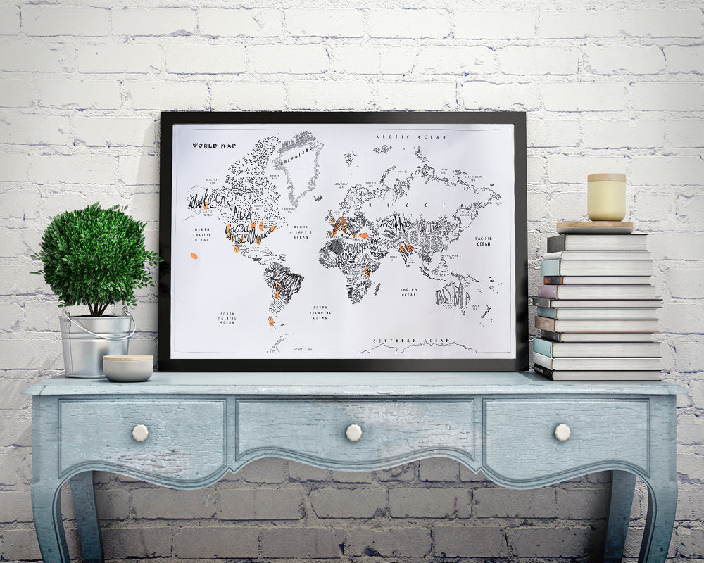 Wanderlust World Map, Travelers Log, Fingerprint Map Kit, with Hand Lettered Country Names