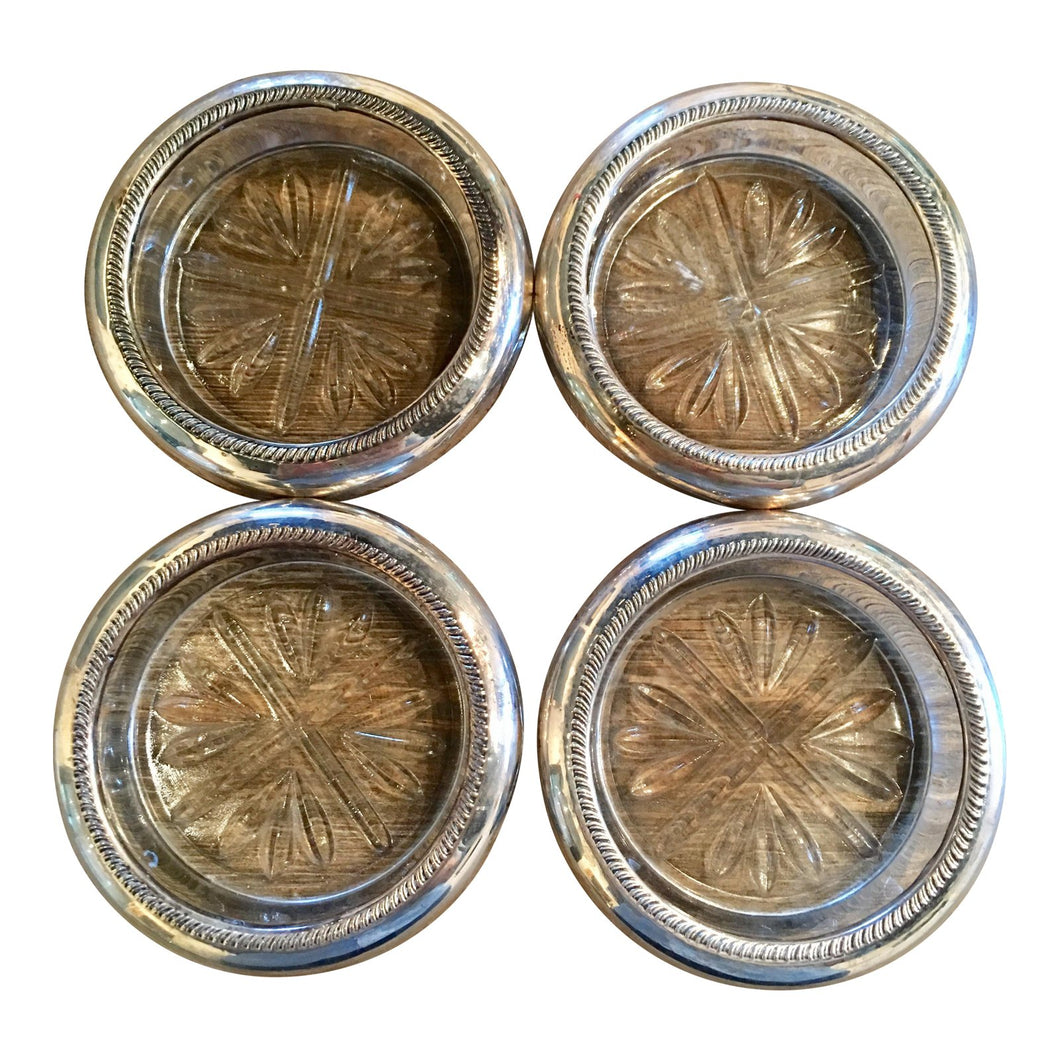 1950s Silver Plated Cut Glass Coasters - Set of 4