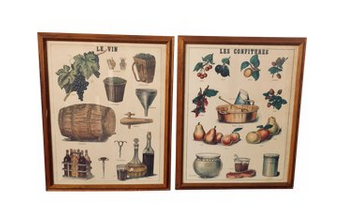 Vintage French Prints, a Pair