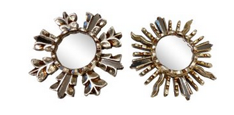Silver Leaf Sunburst Mirrors Ornaments - a Pair
