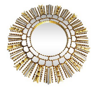 Sunburst Gold Leaf Wood Mirror