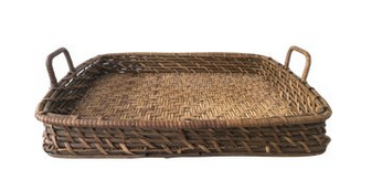 Vintage Rattan & Bamboo Tray