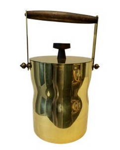 Midcentury Brass & Teak Ice Bucket