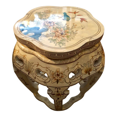 Antique Chinoiserie Wood Stool