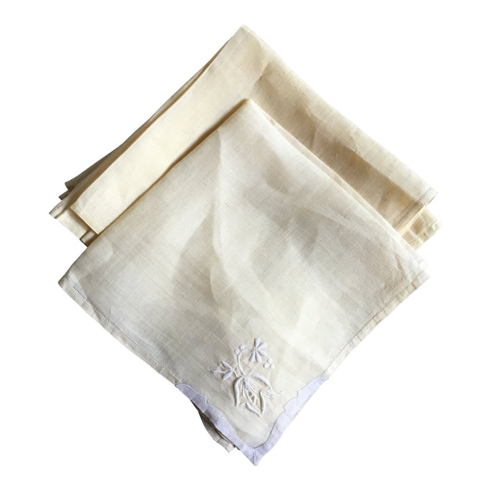 Antique Linen Napkins, Set of 9