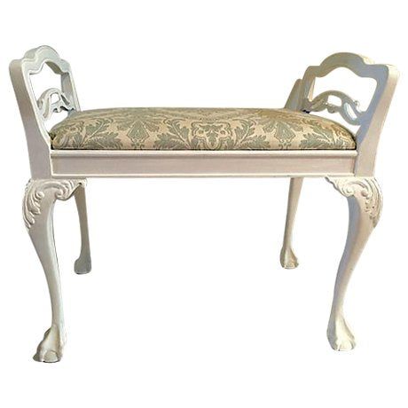 Antique White Chippendale Bench