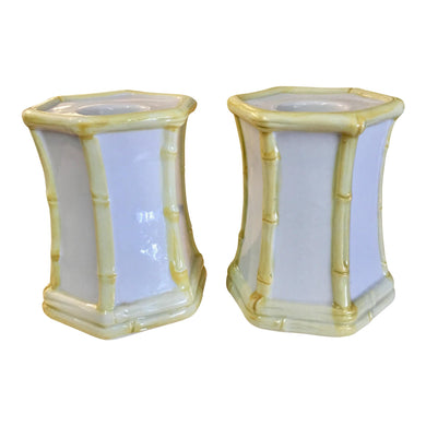 Bamboo Style Porcelain Candle Holders - A Pair