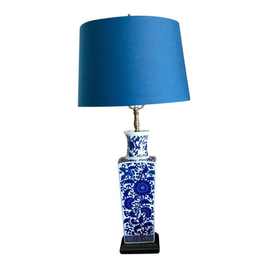 Blue & White Botanical Jar Lamp