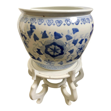 Export Chinese Vintage Blue & White Planter Set