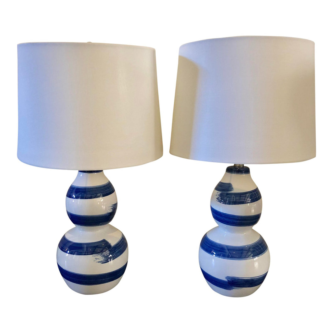 Blue & White Stroked Lamps, a Pair