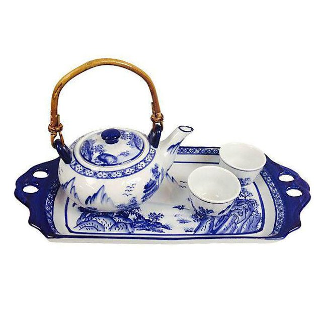 Blue & White Teapot, Tray, & Cups - Set of 4