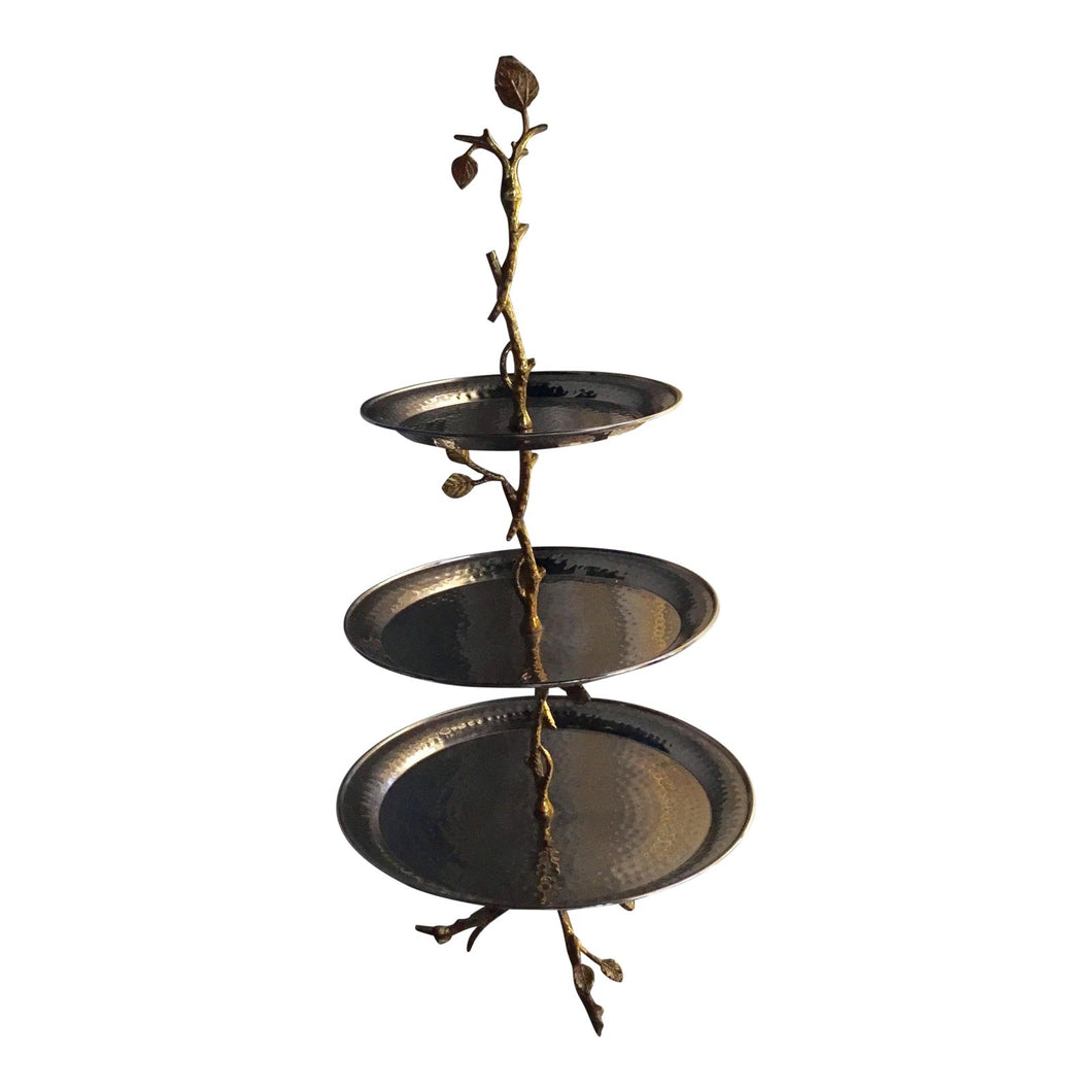 Botanical Metal Tiered Serving Plate