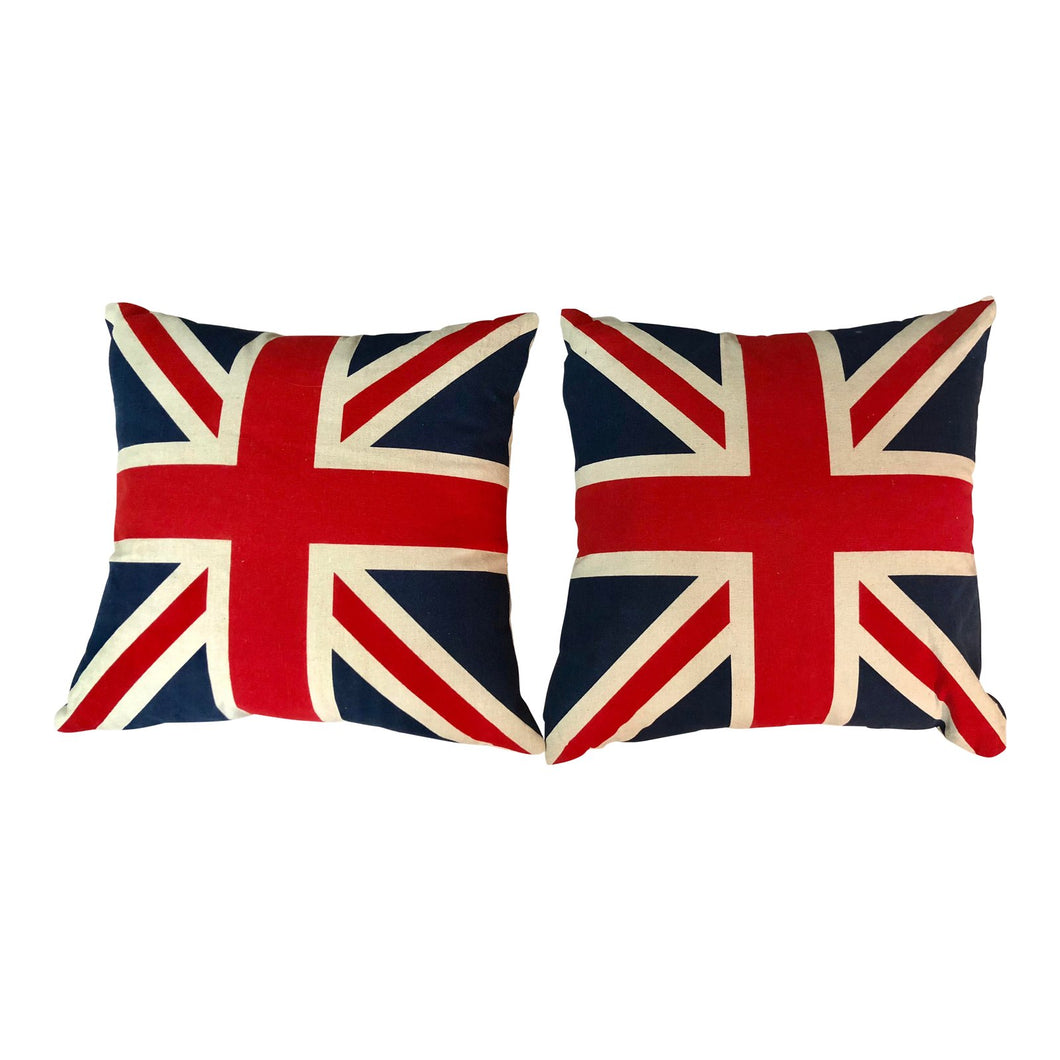 British Flag Pillows, a Pair