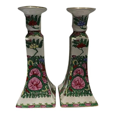 Chinese Famille Rose Candlesticks - Pair