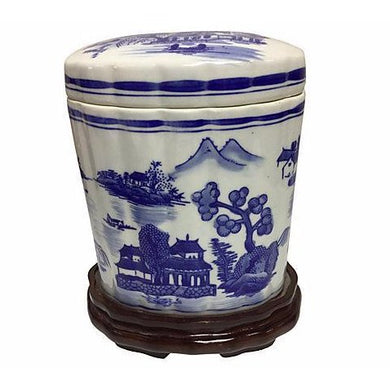Chinoiserie Wooden Base Tea Jar