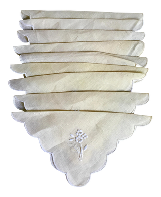 Cream Linen Cocktail Napkins, Set of 9