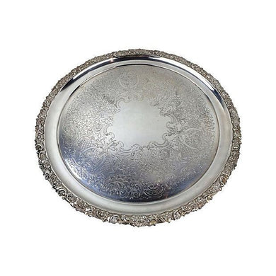 English Style Silver Plated Round Tray