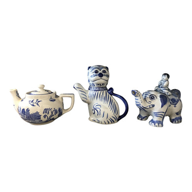 Export Blue & White Teapots - Set of 3