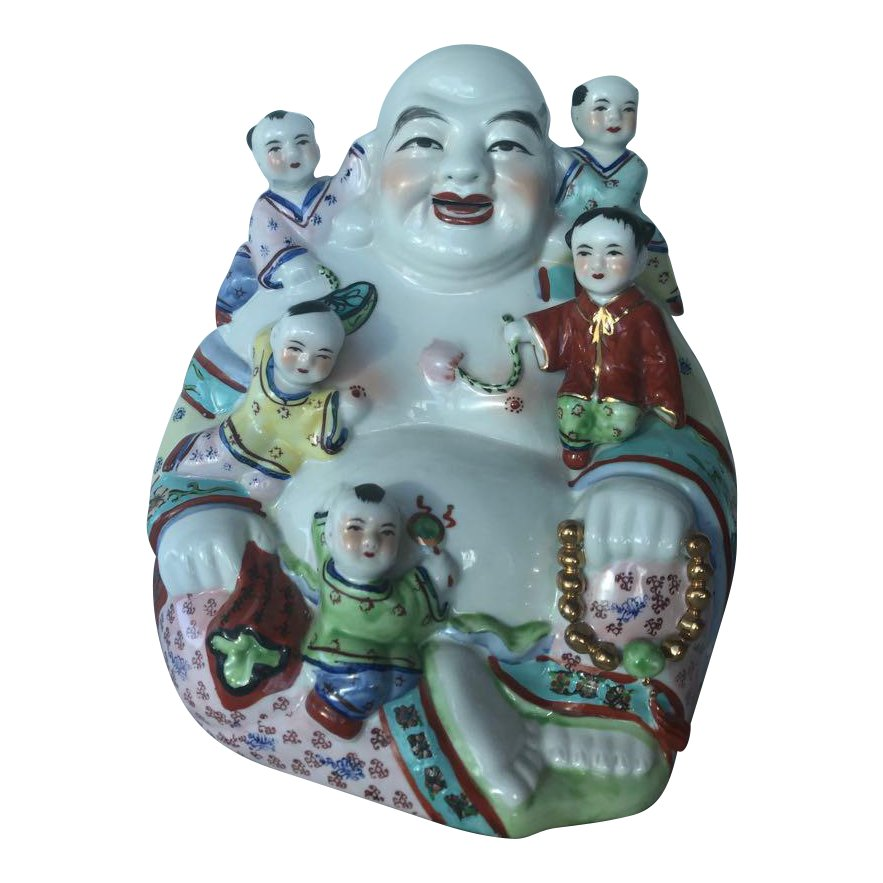 Famille Rose Buddha & Children Sculpture
