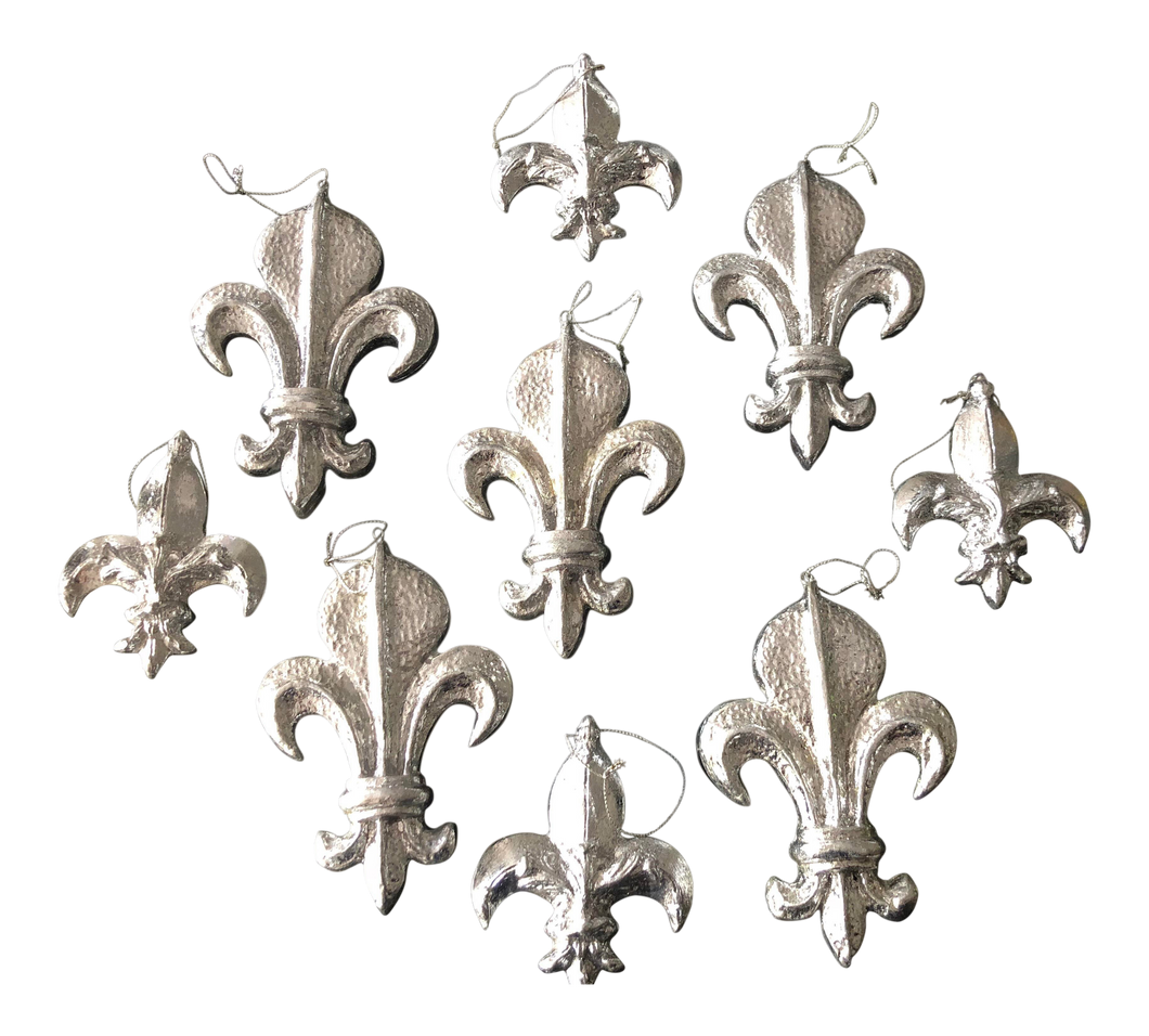 Fleur D' Lis Christmas Ornaments, Set of 9