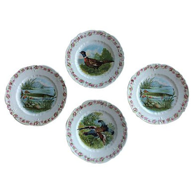 French Fish & Bird Motif Plates - Set of 4