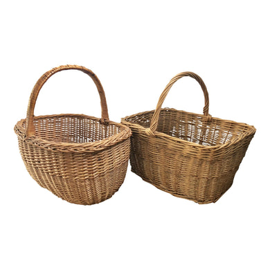 French Wicker Market Basket, a Pair