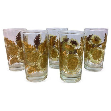 Gilt Flower Glasses -Set of 5