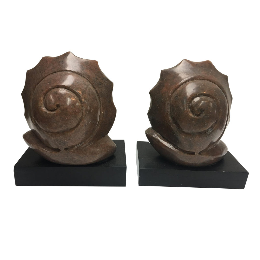 Hand-Carved Marble & Wood Snail Bookends - A Pair