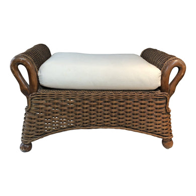 Hand-Carved Rattan Ottoman