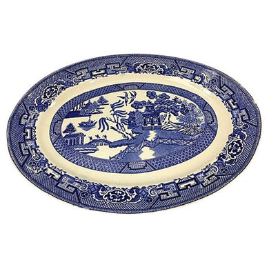 Homer Laughlin Blue & White Pagoda Platter