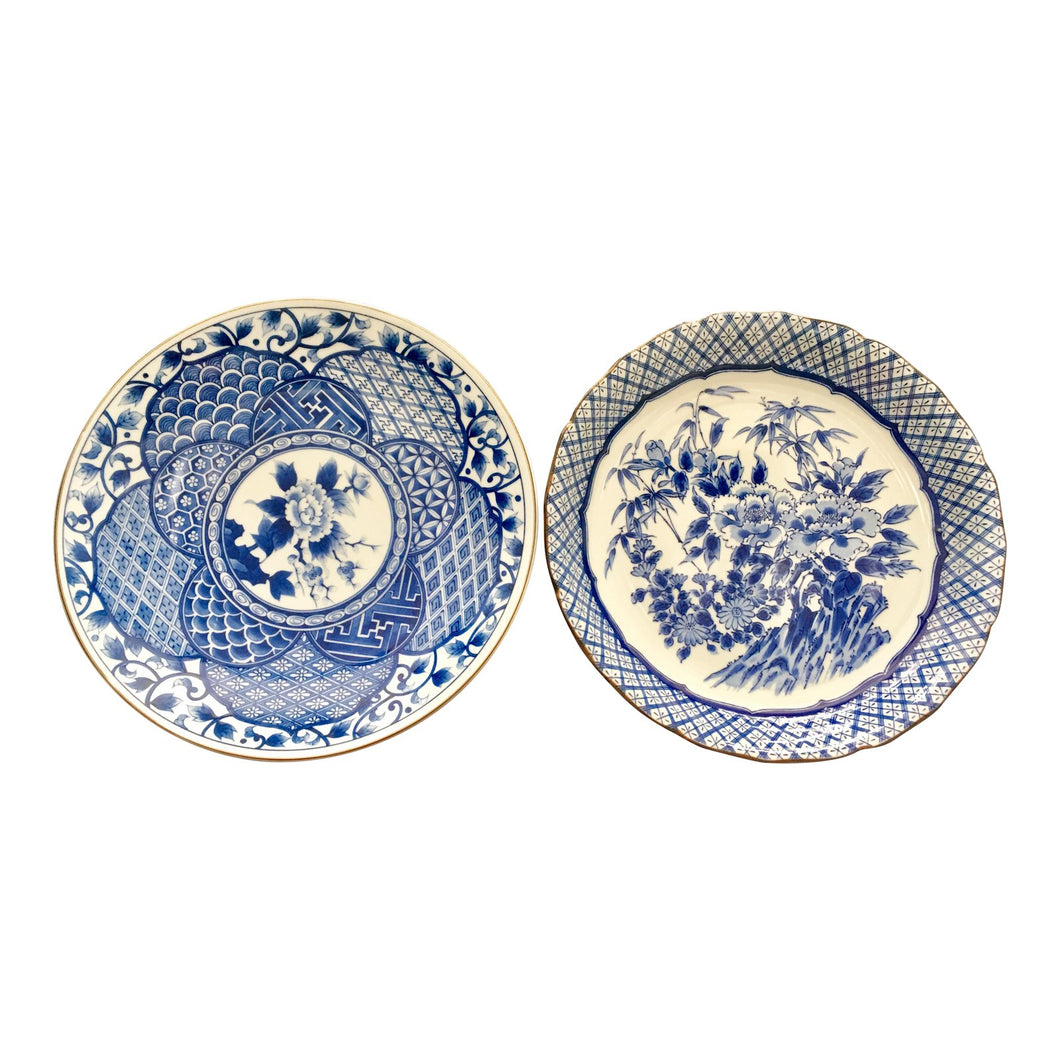 Large Imari Blue & White Plates - A Pair