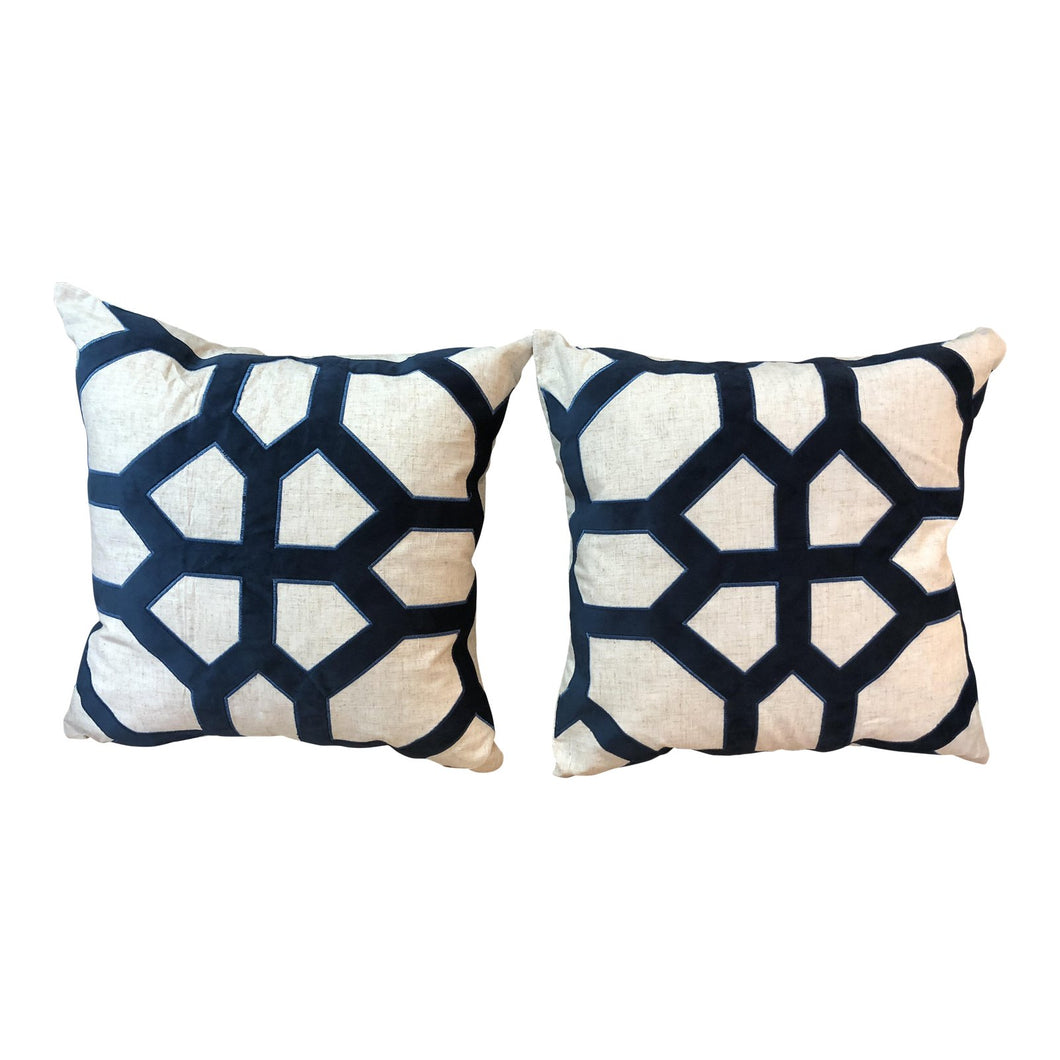 Linen & Velvet Geometical Pillows - a Pair