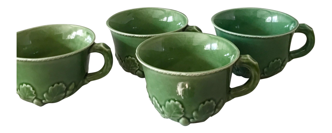 Majolica Acorn Motif Soup Cups, Set of 4