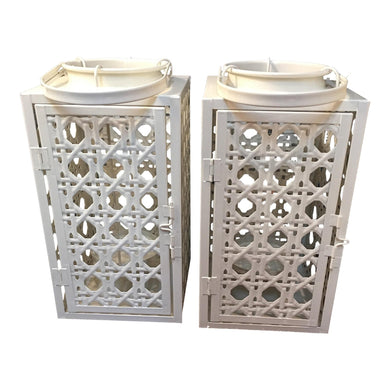 Metal Weaved Cane Style Lanterns - A Pair