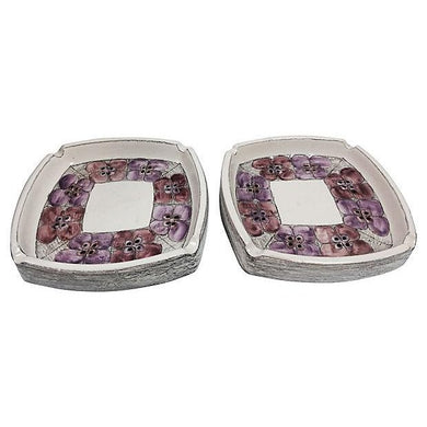 Mid-Century Flower Ashtrays - Pair
