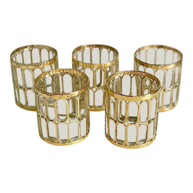 Mid Century Gilt Glasses, Set of 5