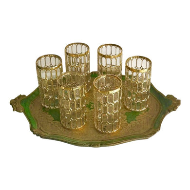 Mid-Century Gilt Glasses, Set of 6