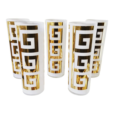 Mid-Century Greek Key Gold Glasses - Set of 5