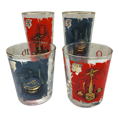 Mid-Century Modern Rx Motif Glasses - Set of 4