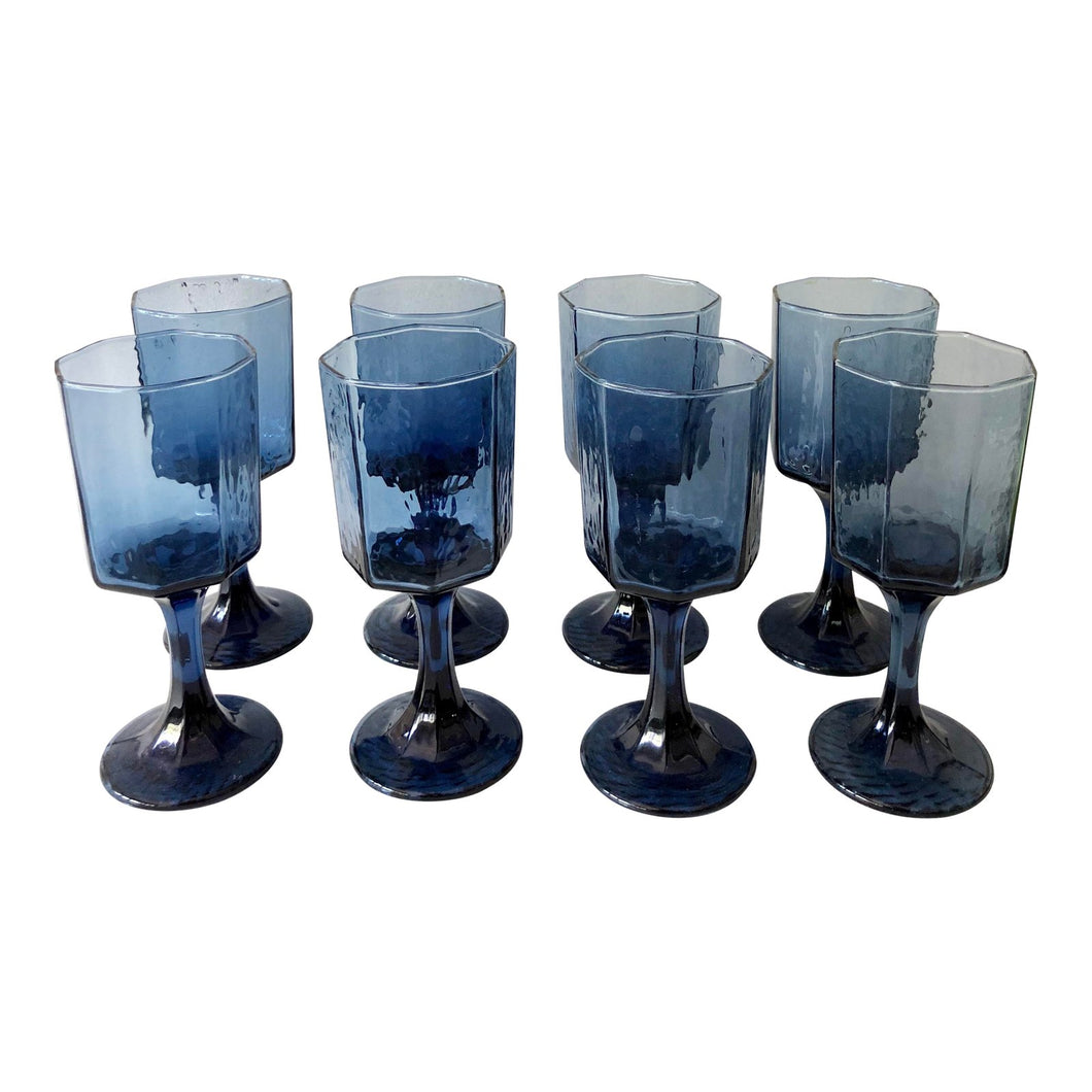 Midcentury Brutalist Blue Cordials, Set of 8
