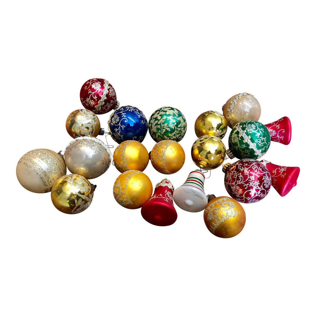 Mismatched Glass Ornaments, 20/Set